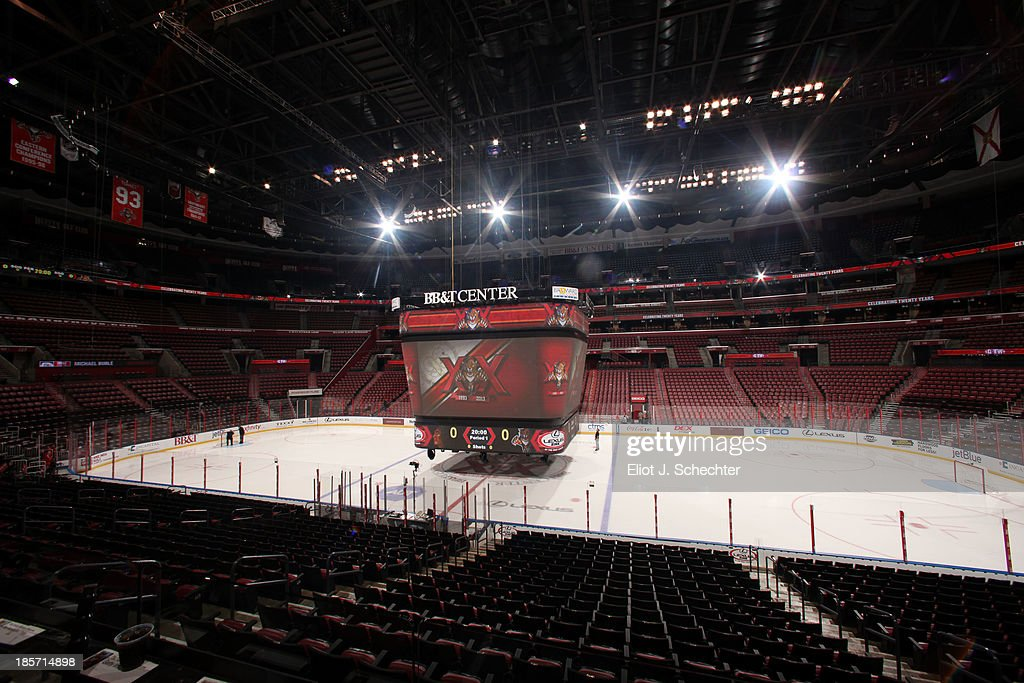The new scoreboard dubbed 'Big Red' is lowered down for some fine tuning prior to the start of the game between the Florida Panthers and the Chicago Blackhawks at the BB&T Center on October 22, 2013 in Sunrise, Florida.