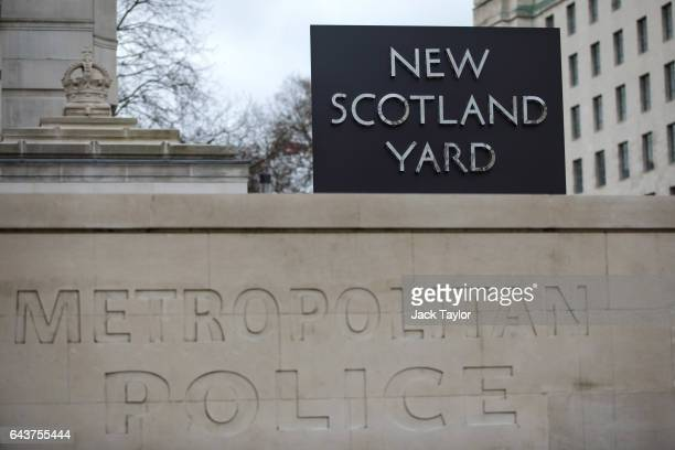 The New Scotland Yard logo is displayed on a revolving sign outside the Curtis Green Building the new home of the Metropolitan Police on February 22...