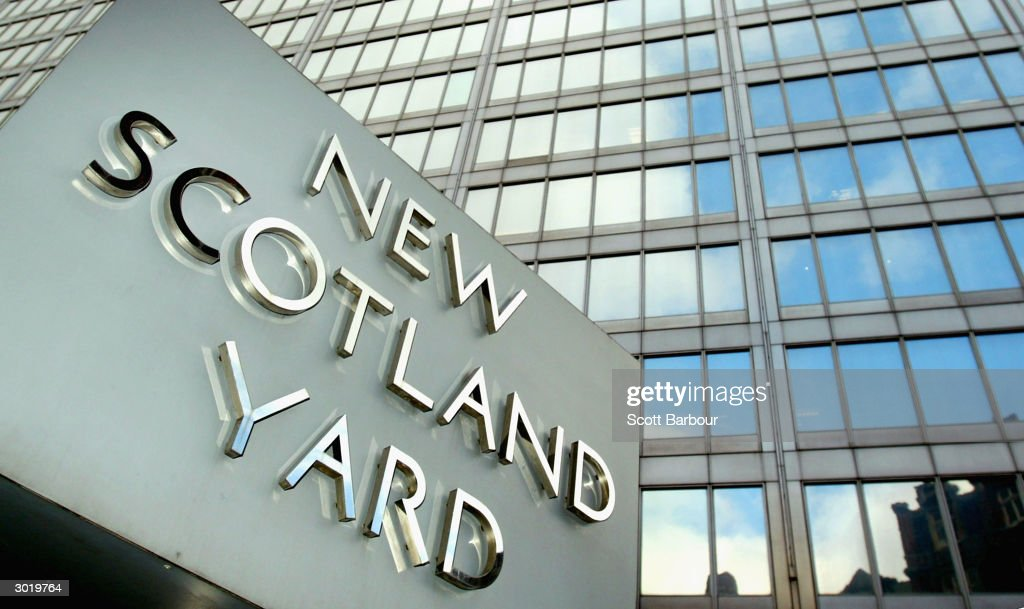 The New Scotland Yard sign spins during the launch of Shop Watch February 27 2004 in London England Shop Watch will see retail shop floor staff...