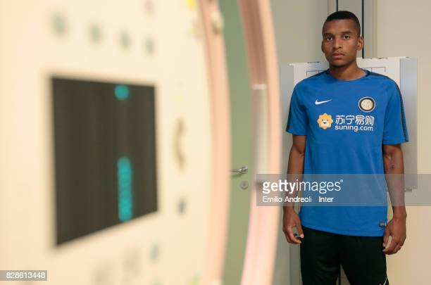 The new signing of FC Internazionale Milano Dalbert Henrique Chagas Estevao during a medical examination at Humanitas Hospital on August 8 2017 in...