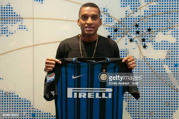 The new signing of FC Internazionale Milano Dalbert Henrique Chagas Estevao poses at FC Internazionale headquarters on August 8 2017 in Milan Italy