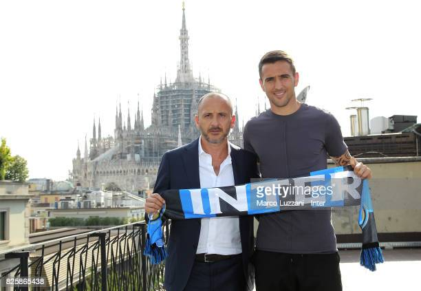 The new signing of FC Internazionale Milano Matias Vecino and Sportif Director of FC Internazionale Milano Piero Ausilio pose at FC Internazionale...
