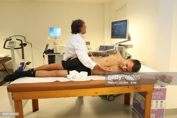 The new signing of FC Internazionale Milano Matias Vecino during a medical examination at CONI Sporting Medical Center on August 1 2017 in Milan Italy