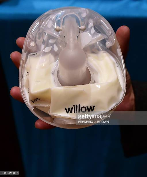 The new smart breast pump from Willow billed as a smart wearable breast pump quiet enough to use in a conference call is displayed at Showstoppers...