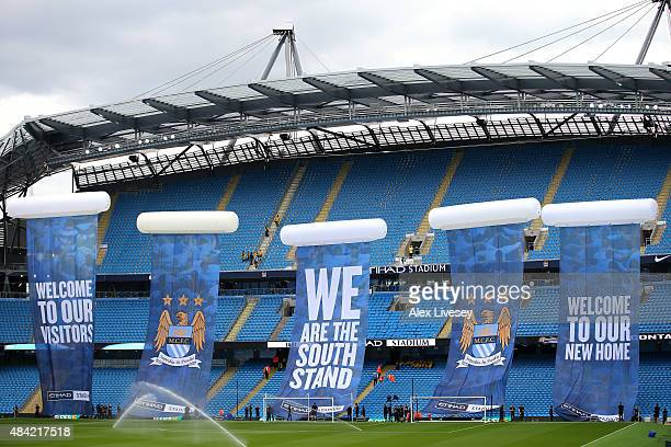 The new South Stand is ready to be unveiled prior to the Barclays Premier League match between Manchester City and Chelsea at Etihad Stadium on...