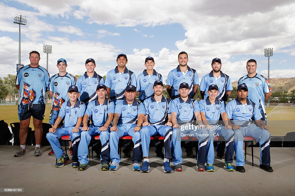 The New South Wales team pose for a photo on media day during the National Indigenous Cricket Championships on February 7, 2016 in Alice Springs, Australia.