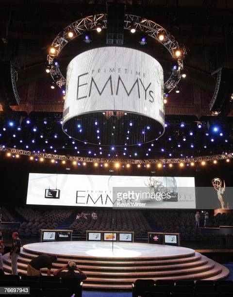 The new stage for the 59th Emmy Awards is shown at the Shrine Auditorium on September 12 2007 in Los Angeles California