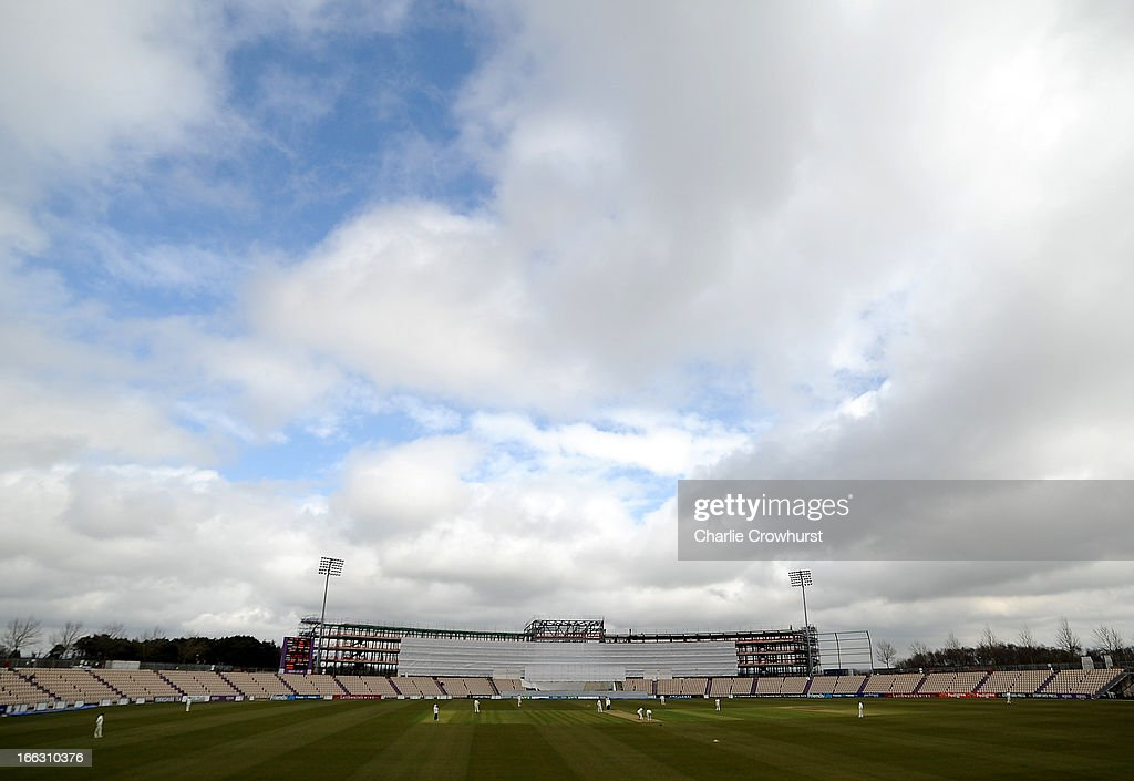 The new stand at the Ageas Bowl takes shape as play continues during day two of the LV County Championship match between Hampshire and Leicestershire at The Ageas Bowl on April 11, 2013 in Southampton, England.