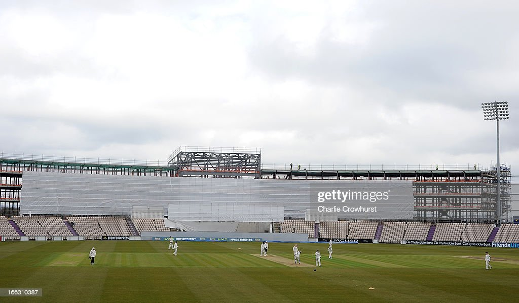 The new stand takes shape at the Ageas Bowl while play continues during day two of the LV County Championship match between Hampshire and Leicestershire at The Ageas Bowl on April 11, 2013 in Southampton, England.