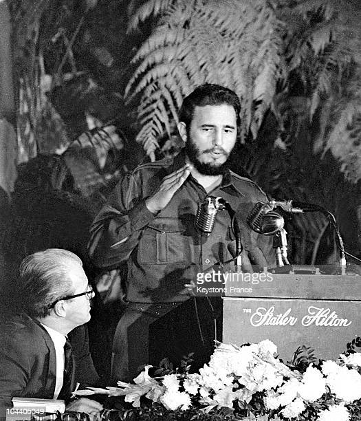 The new strongman in Cuba Fidel CASTRO speaking to American journalists during a press conference in New York His visit to the United States came...