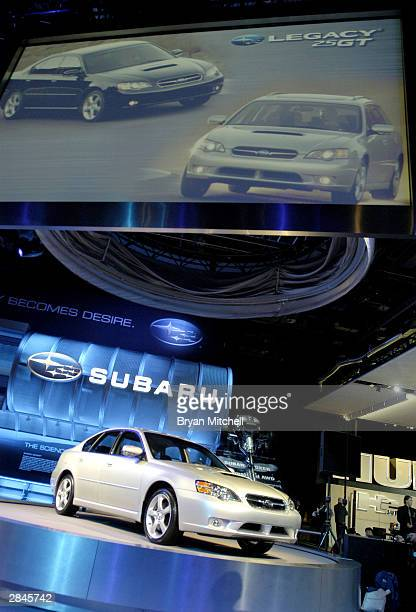 The new Subaru Legacy 25 GT sedan is presented at the North American International Auto Show January 5 2004 in Detroit Michigan The show which will...