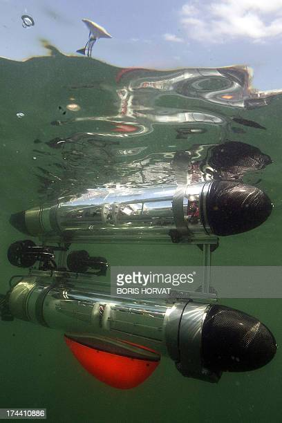 The new submarine robot 'MEDUSA' is submerged on July 25 2013 in La SeynesurMer southern France The Portuguese designed robot is part of the European...