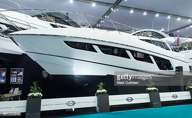 The new Sunseeker Predator 57 which was unveiled by Nicole Scherzinger at the London Boat Show at ExCel on January 9 2015 in London England