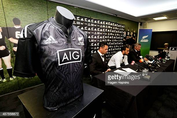 The new team jersey sits on display during the New Zealand Maori All Blacks Squad Announcement at New Zealand Rugby House on October 21 2014 in...