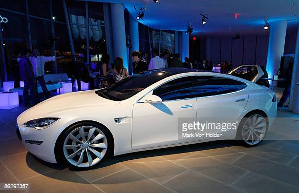 The new Tesla S series electric car at the viewing of the Tesla Model S at the IAC Building on April 29 2009 in New York City