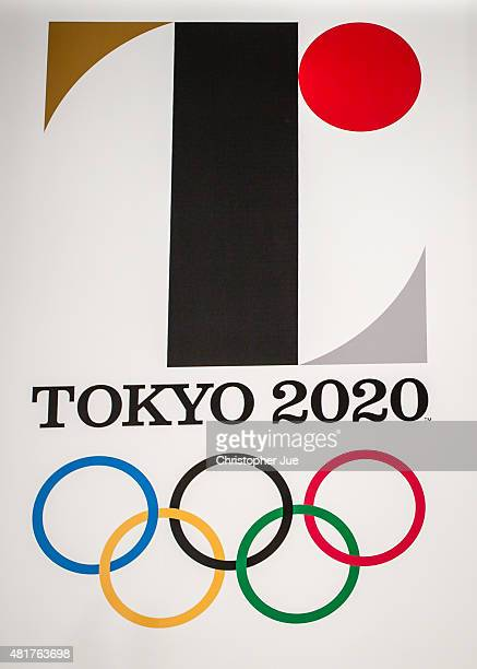 The new Tokyo 2020 Olympic emblem is on display during the unveiling ceremony of the Tokyo 2020 Olympic and Paralympic Games at the Tokyo...