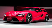The new Toyota FT1 Concept is revealed at the press preview of the 2014 North American International Auto Show January 13 2014 in Detroit Michigan...
