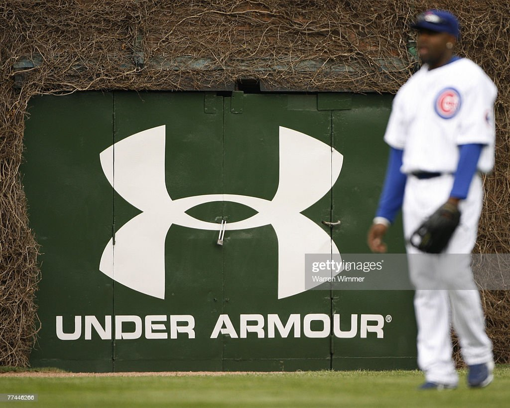 The new UNDER ARMOUR logo on the right field wall of Wrigley Field, Chicago, Il. on April 9, 2007, where the Astros defeated the Cubbies by a score of 5 to 3.