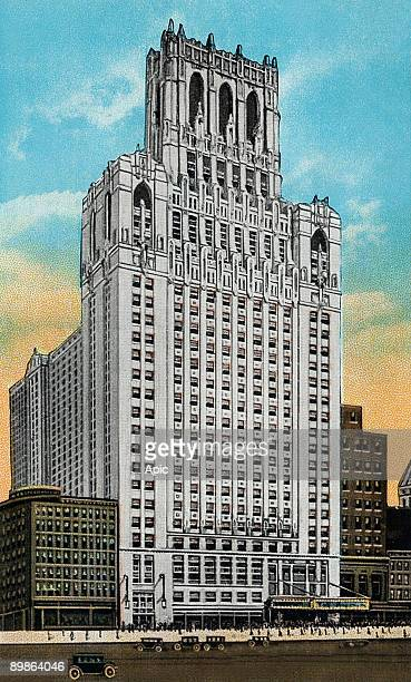 The new united masonic temple in Chicago built by CW George L Rapp in the 20's postcard 1927