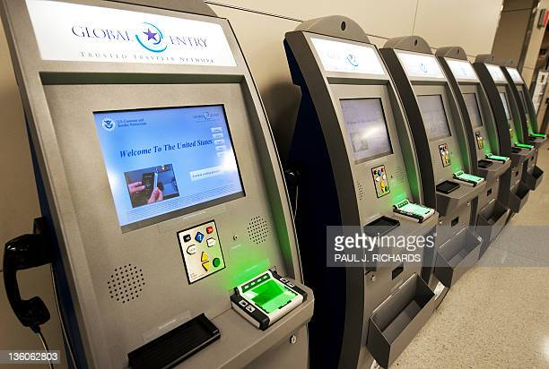 The new US Customs and Border Protetion Global Entry Trusted Traveler Network kiosks are seen at Dulles International Airport December 21 2011 in...