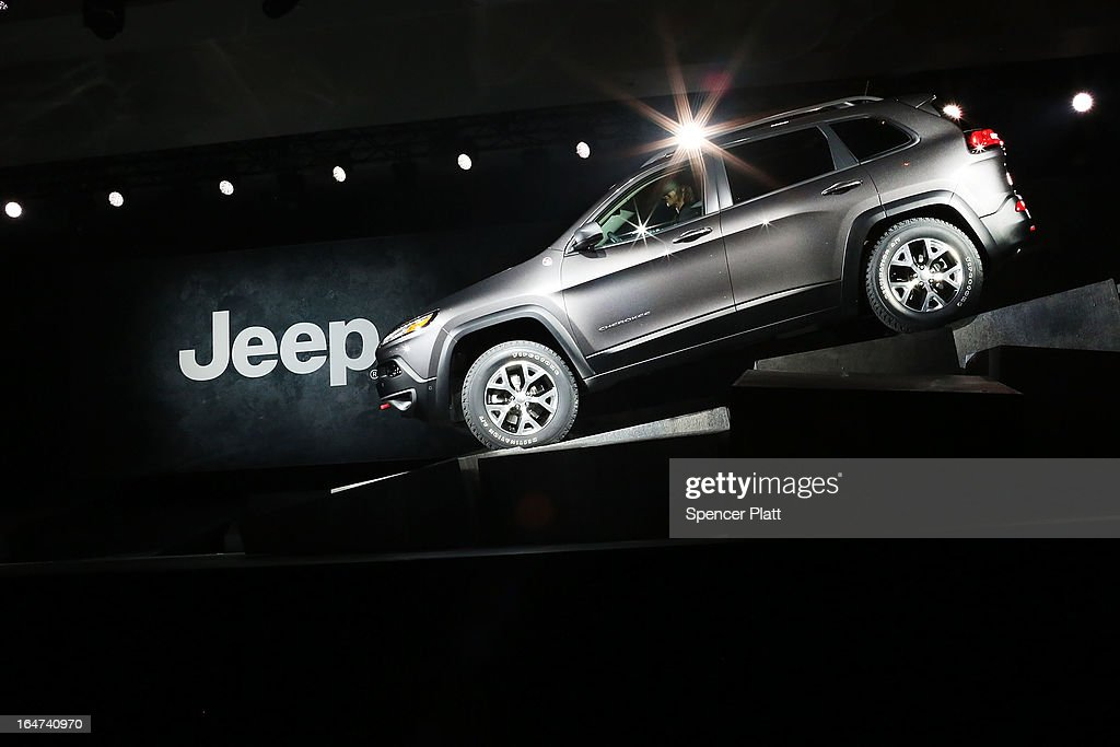 The new version of the Jeep Cherokee, the fourth since 1974, is displayed at the 2013 New York International Auto Show on March 27, 2013 in New York City. The New York Auto Show will open to the public on Friday and run until April 7.