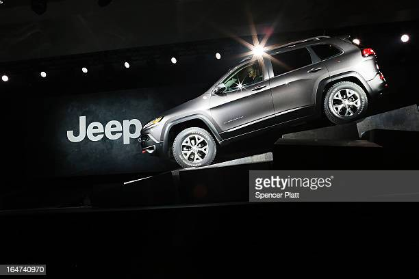 The new version of the Jeep Cherokee the fourth since 1974 is displayed at the 2013 New York International Auto Show on March 27 2013 in New York...