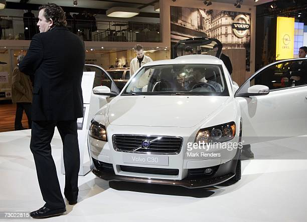 The new Volvo C 30 is seen at the Brussels Car Fair one of Europe's largest car fairs on January 16 2007 in Brussels Belgium