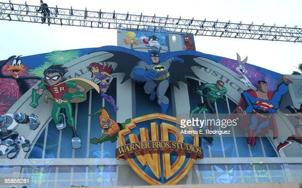 The new Warner Bros Studio billboard at a Celebration of Warner Bros Animation with the unveiling of a new billboard at the Warner Bros Studio lot on...