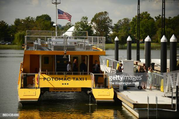 The new water taxi waits for its inaugural ride with mayor Muriel Bower at the newly developed Wharf in Washington DC October 10 2017 The service of...