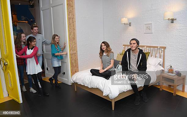 The new wax figures of Vlog Stars Zoella Zoe Sugg and Alfie Deyes are unveiled in the new YouTube area at Madame Tussauds on September 29 2015 in...