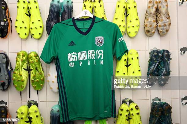 The new West Bromwich Albion third kit which they will wear at Brighton Hove Albion on Saturday's game after todays training session on September 7...