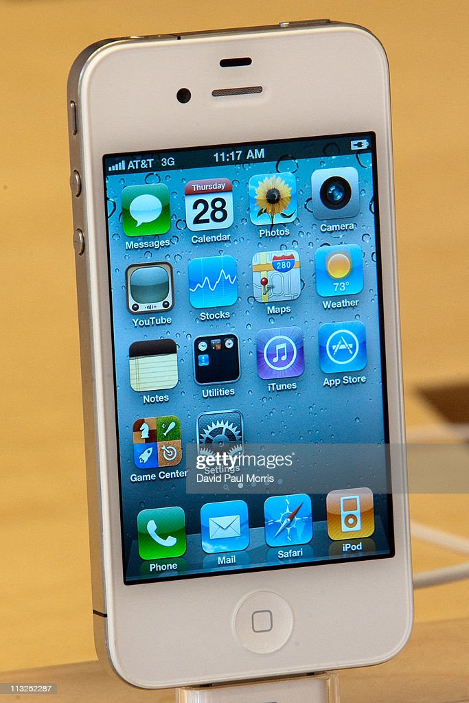 The new white iPhone 4 is displayed at the Apple store April 28, 2011 in Palo Alto, California. The long awaited white iPhone, first announced in June of 2010, went on sale worldwide for the first time today.