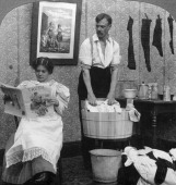 'The New Woman Wash Day' Stereoscopic card detail