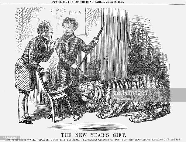 'The New Year's Gift' 1858 This cartoon shows Sir Colin Campbell presenting the leashed tiger of India to Palmerston who rather in the manner of a...