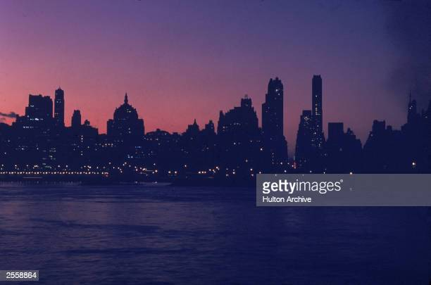 The New York City skyline at dusk circa 1970