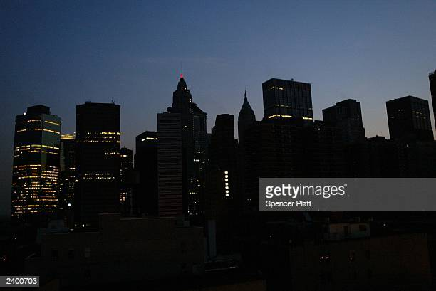 The New York City skyline August 14 2003 during a power outage Power went out across the East Coast in the United States Thursday afternoon