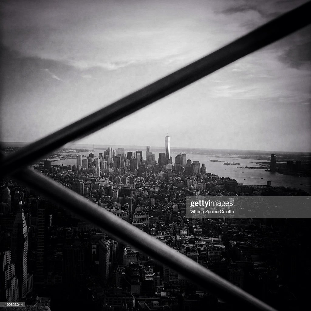 The New York City skyline is seen from the Empire State Building on June 15, 2014 in New York, United States.