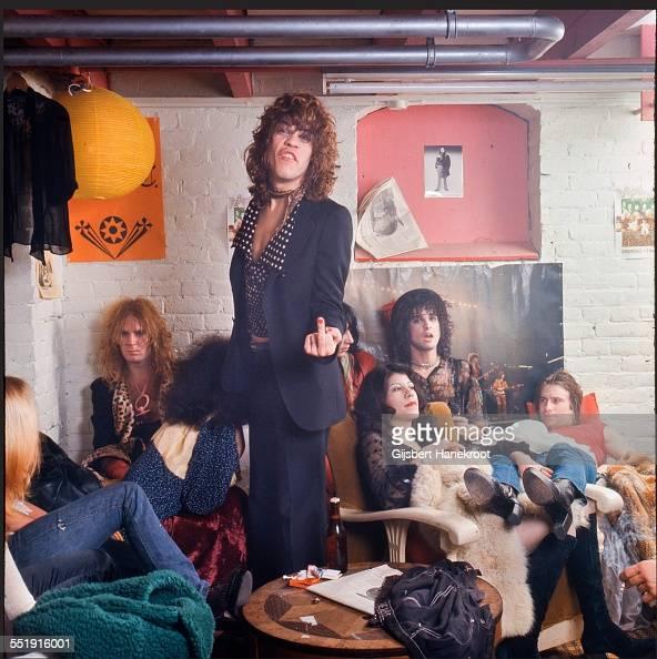 The New York Dolls in their dressing room at Paradiso Amsterdam Netherlands 7th December 1973 LR Arthur Kane David Johansen Johnny Thunders Sylvain...