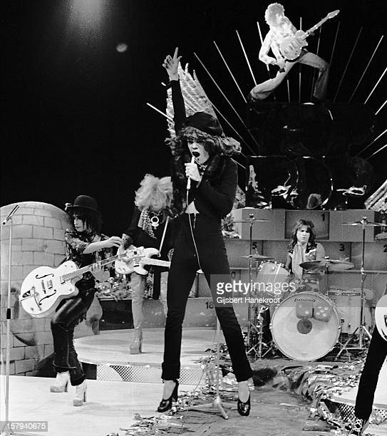 The New York Dolls perform live on TopPop TV show for AVRO TV at Hilversum Studios on December 06 1973 LR Sylvain Sylvain Arthur Kane David Johansen...