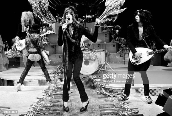 The New York Dolls perform live on TopPop TV show for AVRO TV at Hilversum Studios on December 06 1973 LR Arthur Kane Sylvain Sylvain David Jahansen...