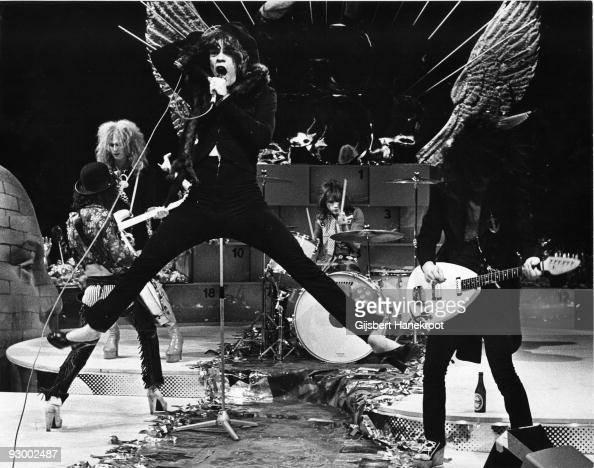 The New York Dolls perform live on TopPop TV show for AVRO TV at Hilversum Studios on December 06 1973 LR Sylvain Sylvain Arthur Kane David Jahansen...
