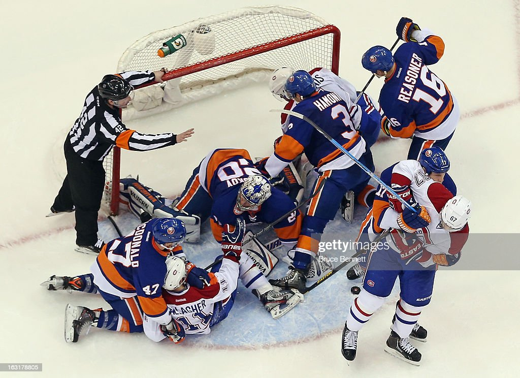 The New York Islanders battle the Montreal Canadiens at the Nassau Veterans Memorial Coliseum on March 5, 2013 in Uniondale, New York. The Islanders defeated the Canadiens 6-3.
