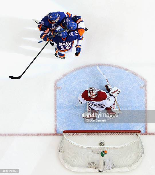 The New York Islanders celebrate a powerplay goal at 1742 of the third period by Josh Bailey against Carey Price of the Montreal Canadiens at the...