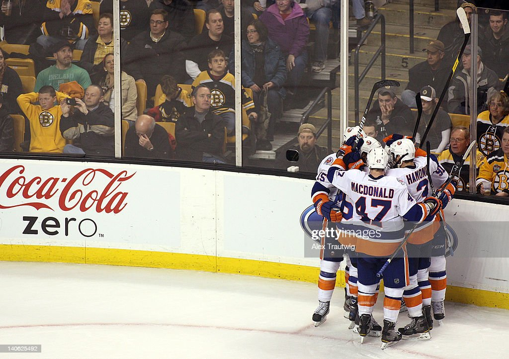 The New York Islanders celebrate a third period goal against the Boston Bruins at TD Garden on March 3, 2012 in Boston, Massachusetts. The Islanders defeated the Bruins 3-2.