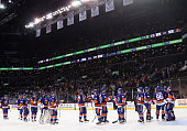 The New York Islanders celebrate their 63 victory over the San Jose Sharks at the Barclays Center on October 17 2015 in the Brooklyn borough of New...