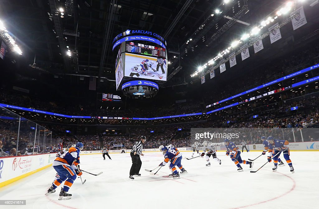 The New York Islanders play against the Chicago Blackhawks at the Barclays Center on October 9, 2015 in Brooklyn borough of New York City. The game is the first for the Islanders in their new arena. The Blackhawks defeated the Islanders 3-2 in overtime.