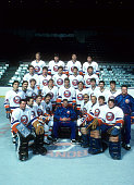 The New York Islanders pose for a group team photo around head coach Al Arbour in October 1984 at the Nassau Coliseum in Uniondale New York