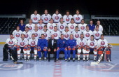 The New York Islanders pose for a group team photo December 1988 at the Nassau Coliseum in Uniondale New York