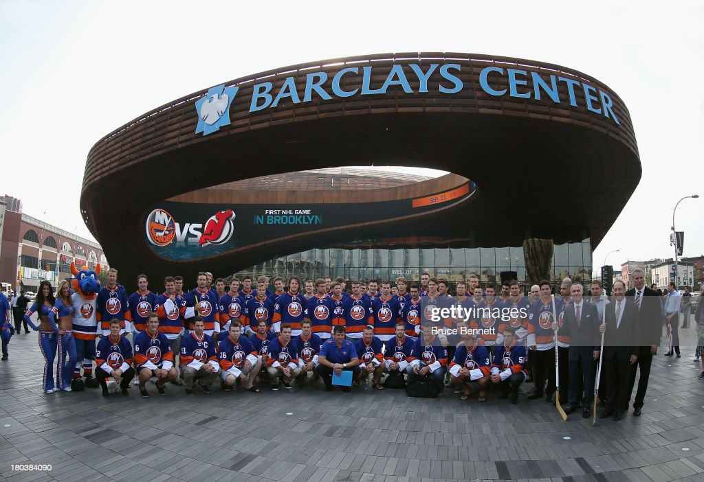 The New York Islanders pose for a photo op at the Barclays Center prior to their first practice on September 12, 2013 in Brooklyn borough of New York City.