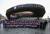 The New York Islanders pose for a photo op at the Barclays Center prior to their first practice on September 12 2013 in Brooklyn borough of New York...